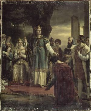 Saint Louis (Louis IX) at a judgment under the oak of Vincennes. Painting by Georges Rouget