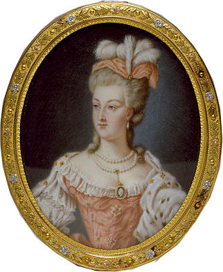 A miniature portrait of Marie-Antoinette by Anne Vallayer-Coster, one of the queen's favorite artists and who received several important portrait commissions from the royal family. This miniature is housed at the Walters Art Museum, in Maryland.