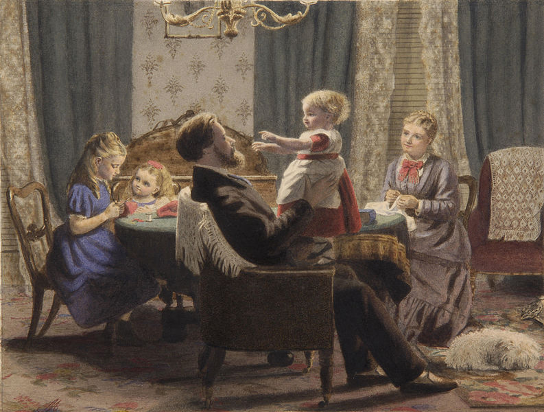 A family in a drawing room 19 c