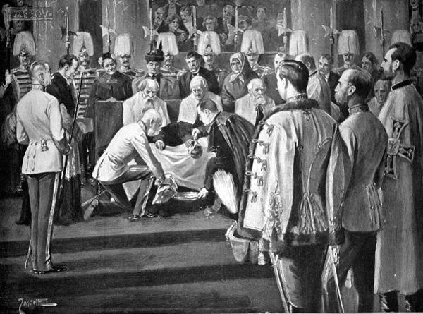 The Emperor washing the feet of the poor on Holy Thursday