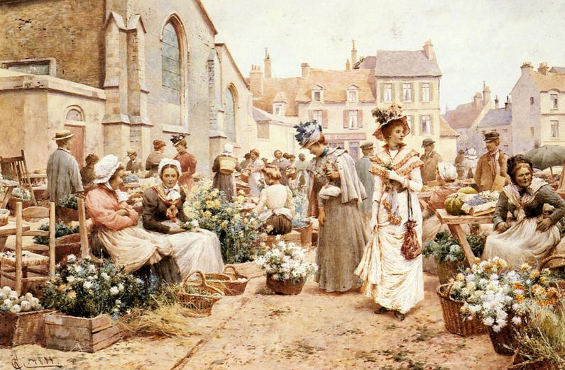 Flower Market In A French Town by Alfred Glendening.