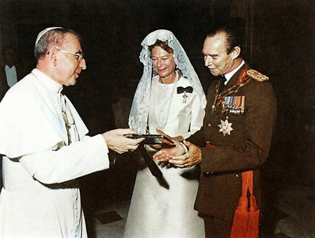 Pope John Paul I meeting Grand Duke Jean and Grand Duchess Joséphine-Charlotte of Luxembourg, September 1978.