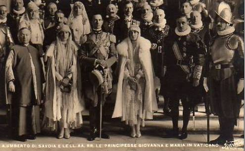 Crown Prince Umberto of Italy with his sisters Maria and Giovanna in the Vatican, along with Marquis Don Giovanni Battista Sacchetti, Major of the Apostolic Palace.