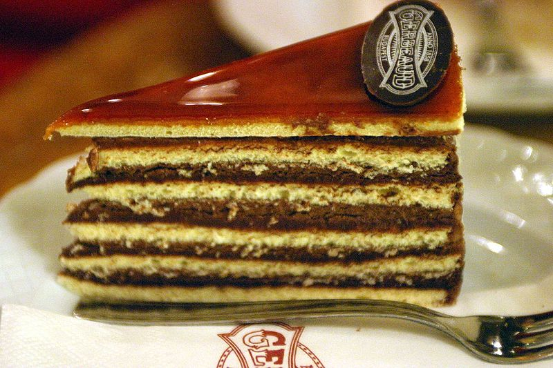 Dobos cake at Gerbeaud Confectionery Budapest, Hungary. Photo by Bruce Tuten