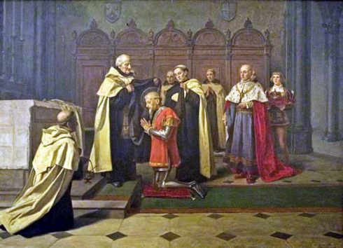 St. Nuno receiving the Carmelite habit and the Religious name of Friar Nuno of Saint Mary.