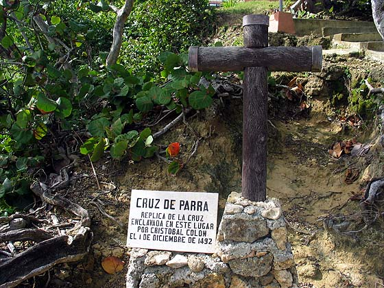 Cruz de Parra. A replica of the cross set in this place by Christopher Columbus, December 1492.