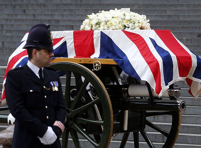 Margaret Thatcher's coffin on a gun carriage at her funeral. Photo by Das österreichische Außenministerium