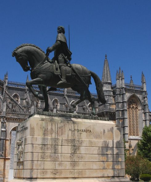 Equestrian statue of St. Nuno Alvares Pereira at the Monastery of Batalha, Portugal
