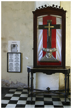 The Cross of Parra, also known as the Columbus Cross, is part of the original cross erected by Christopher Columbus in Baracoa, Cuba on December 27, 1492.