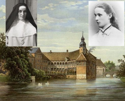 Countess Maria Anna Johanna Franziska Theresia Antonia Huberta Droste zu Vischering at age 15. A Painting of Darfeld Castle in 1860 by Alexander Duncker & Photo of (Countess Maria) Bl. Sister Mary of the Divine Heart Droste zu Vischering, Mother Superior in the Convent of Good Shepherd in Porto, Portugal.