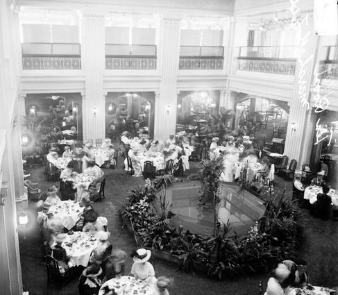 Marshall Field Tea Room. The Historic Marshall Field and Company Building was Chicago's leading department store founded in 1892. This 12 story building included a tea room, pictured here.