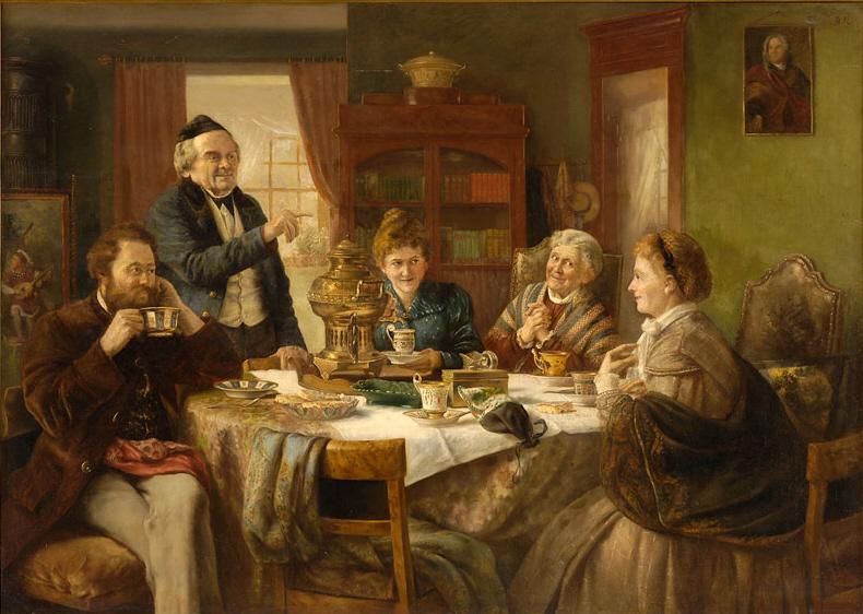 A family enjoying their breakfast with a samovar.