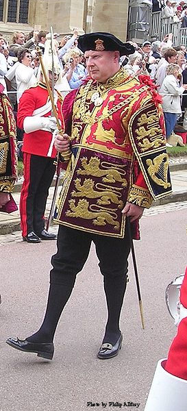 Thomas Woodcock, Garter Principal King of Arms, in procession to St George's Chapel, Windsor Castle for the annual service of the Order of the Garter.