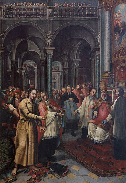 St. Norbert being ordained a priest.