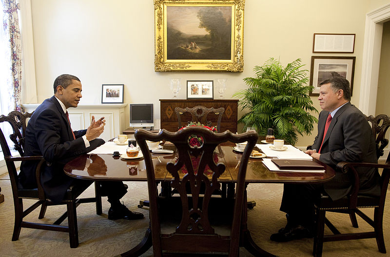 President Barack Obama is seen having tea with King Abdullah of Jordan in a one-on-one meeting Tuesday, April 21, 2009, at the Oval Office Private Dining Room in the West Wing of the White House.
