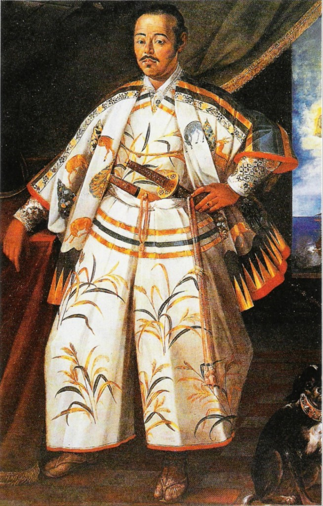 Painting of Japanese samurai Hasekura Tsunenaga while visiting Rome in 1615. While visiting Spain in 1613, he was baptized Roman Catholic.