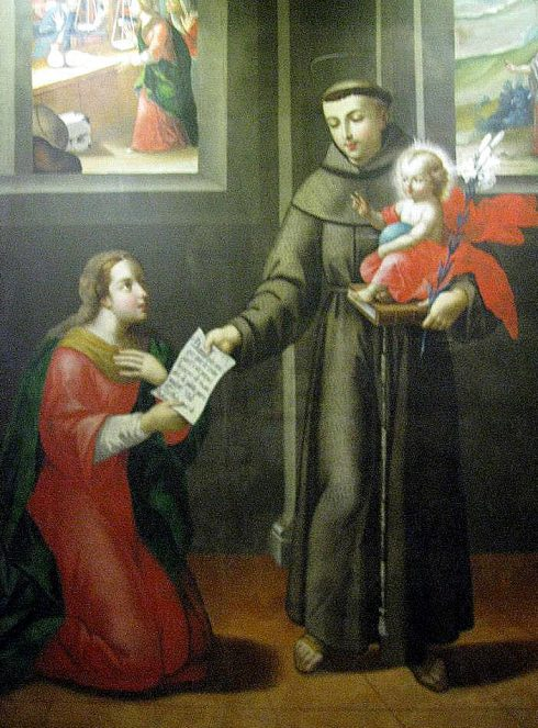 Miracle of a woman who could not marry because she had no dowry. St. Anthony gave her a paper and told her to take it to the jeweler. The paper that St. Anthony gave to her was worth more than a large pile of gold. Painting at the Convent of St. Francis, Quito, Ecuador.