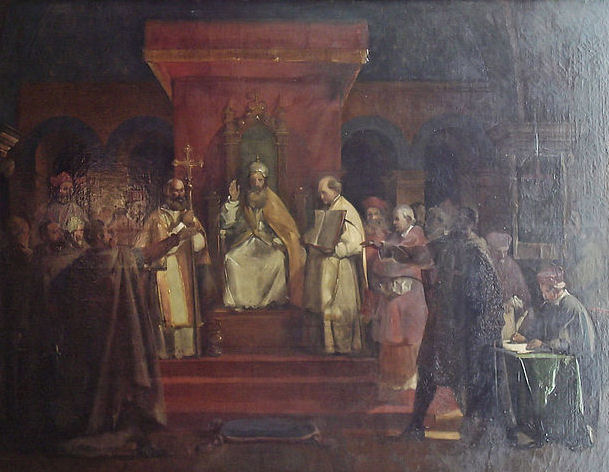 Painting of the Official recognition by Pope Honorius II of the Templars at the Council of Troyes in 1128. Painting by François Marius Granet