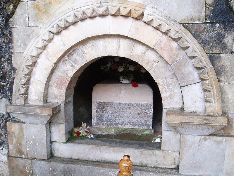 Tomb of King Don Pelayo of Asturias at Covadonga Sanctuary, Cangas de Onis, Asturias, Spain
