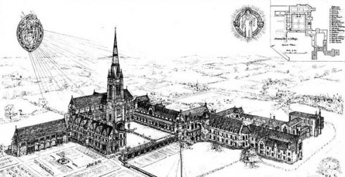 A drawing of Downside Abbey published in The Building News, May 30th 1873.
