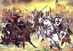 Battle scene of the Knights Templar by Grizzli.