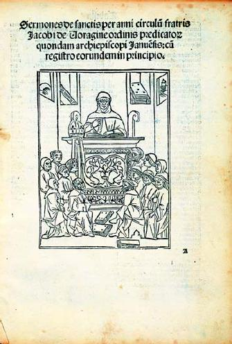 Title page of the 1497 edition of the Sermones de sanctis showing Bl. Jacobus de Varagine as a preacher.