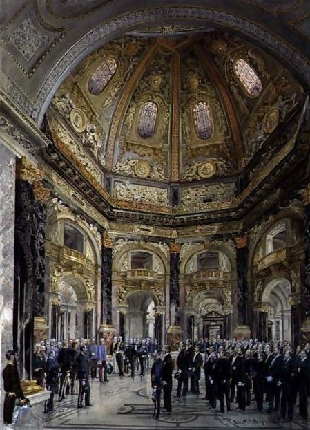 Visit of Emperor Franz Joseph I of Austria 1830-1916 to the Kunsthistorisches Museum in 1891, 1893. Painting by Raschka