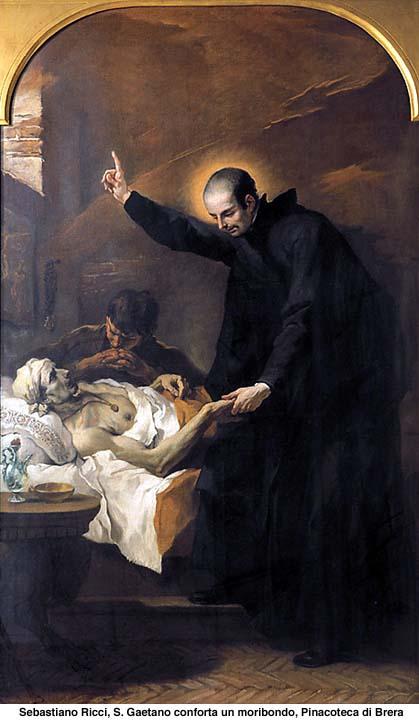 St. Cajetan comforting a dying man.