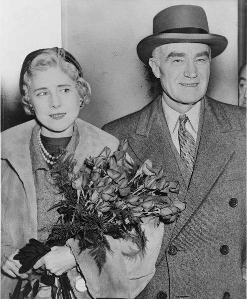 Clare Boothe Luce, U.S. ambassador to Italy, and husband, publisher Henry Luce, arriving at Idelwild Airport, New York in 1954.