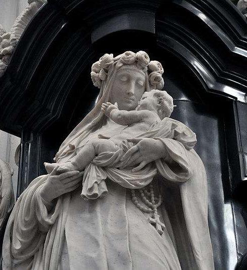 Statue of St. Rose of Lima in the Church of Sint-Pauluskerk in Antwerpen.