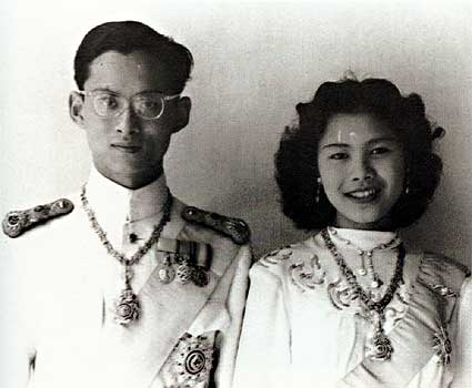 Photograph of Bhumibol and Sirikit of Thailand on their wedding 28 April 1950
