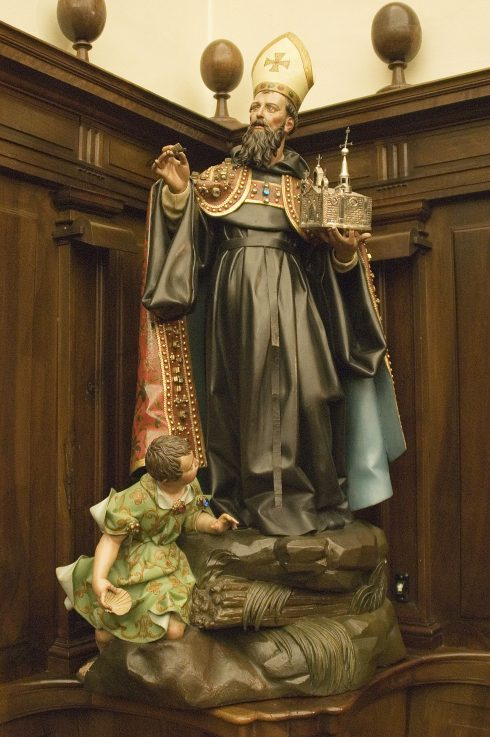 Statue of St. Augustine and the Angel in the Royal Monastery of the Incarnation in Madrid, Spain.