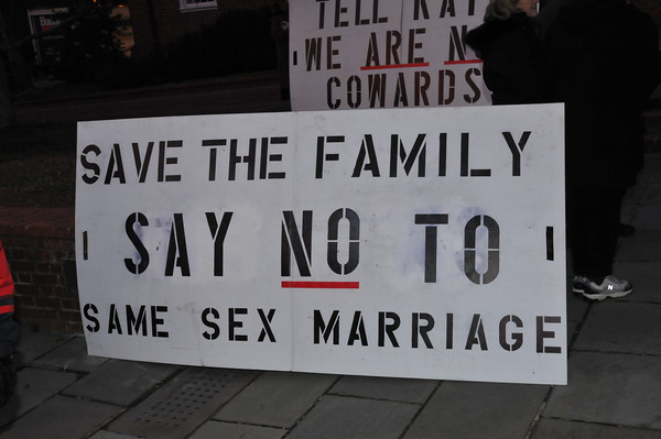 One of the many signs from supporters of Traditional Marriage.