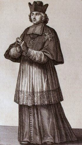 An engraving of an Ecclesiastical Knight of the Order of St. Lazarus from 1714