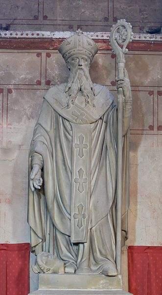 Statue of St. Austremonius, Bishop of Auvergne. Church Saint Austremonius of Issoire, Auvergne, France.