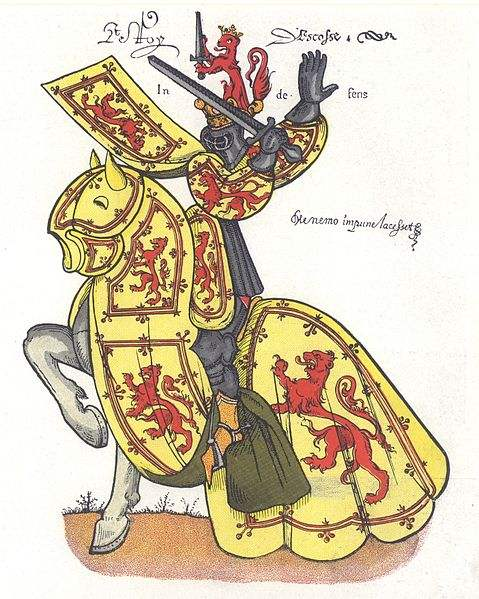 """A 15thC armorial depiction of the King of Scots, showing the arms of William the Lion, as adopted by Scotland's later kings who added the tressure featuring the French fleur-de-lys symbolising the traditional Franco-Scottish alliance against England. Below the title 'Le Roy d'Escosse' appear the mottoes of the Royal Stewart kings of Scotland: 'In defens' and 'Me nemo impune lacessit', """"No one attacks me with impunity""""."""