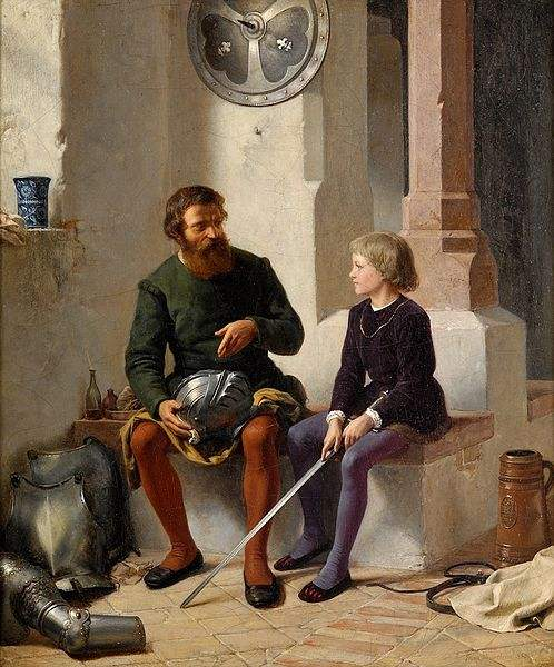 Knight and page. Painting by Franz Eduard Meyerheim