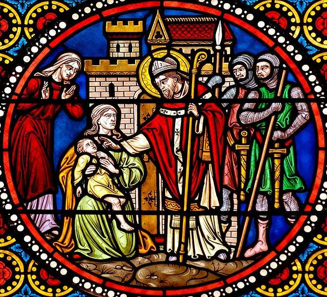 Scenes from the life of St. Austremonius: the saint blessing.
