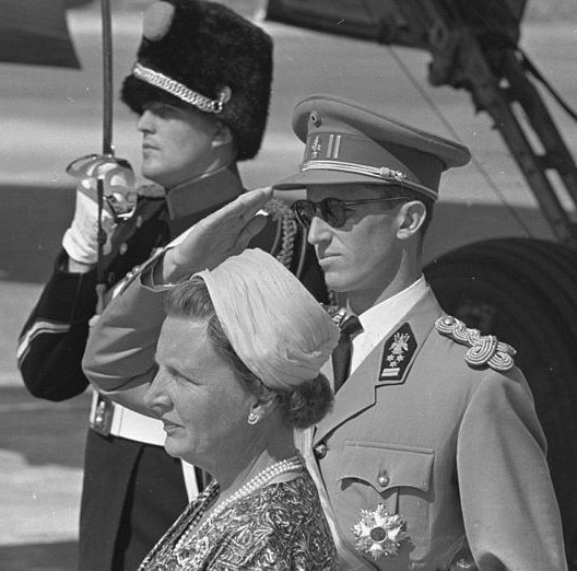 King Baudouin of the Belgians, last living member of the Order, pictured here on a State visit to Holland in 1959.
