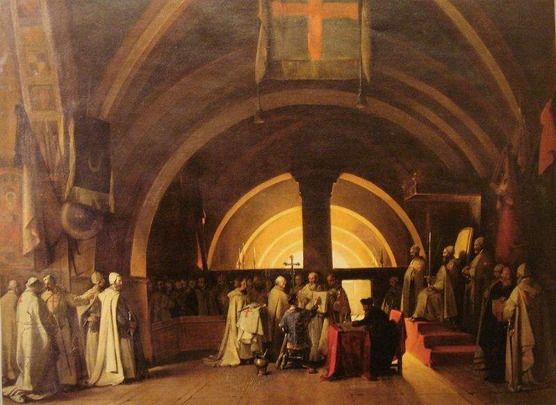 Ordination of Templar Jacques de Molay in 1265 at the Beaune commandery. Painted by Marius Granet