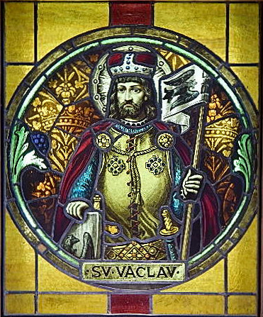 Stained glass window of King St. Wenceslaus.