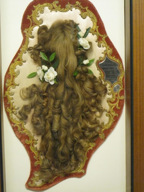 The hair of St. Thérèse of Lisieux, cut off before entering Carmel.