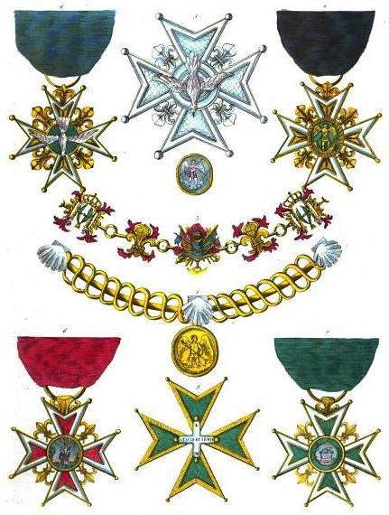 Collection of historical orders of chivalry civil and military...: 1. Order of Saint Michael, collar (France) 2. Order of Saint Michael, badge (France) 3. Order of the Holy Spirit, collar (France) 4. Order of the Holy Spirit, badge (France) 5. Order of the Holy Spirit, star (France) 6. Order of Notre-Dame du Mont-Carmel et de Saint-Lazare de Jérusalem Réunis, badge on red ribbon for commanders (France) 7. Order of Notre-Dame du Mont-Carmel et de Saint-Lazare de Jérusalem Réunis, badge on green ribbon for novice and knigts (France) 8. Order of Notre-Dame du Mont-Carmel et de Saint-Lazare de Jérusalem Réunis, cross for knights and commanders since 1774 (France)