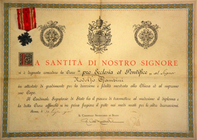 Original document bestowing of the Cross Pro Ecclesia Et Pontiff to Rodolfo Gambini July 21, 1905.