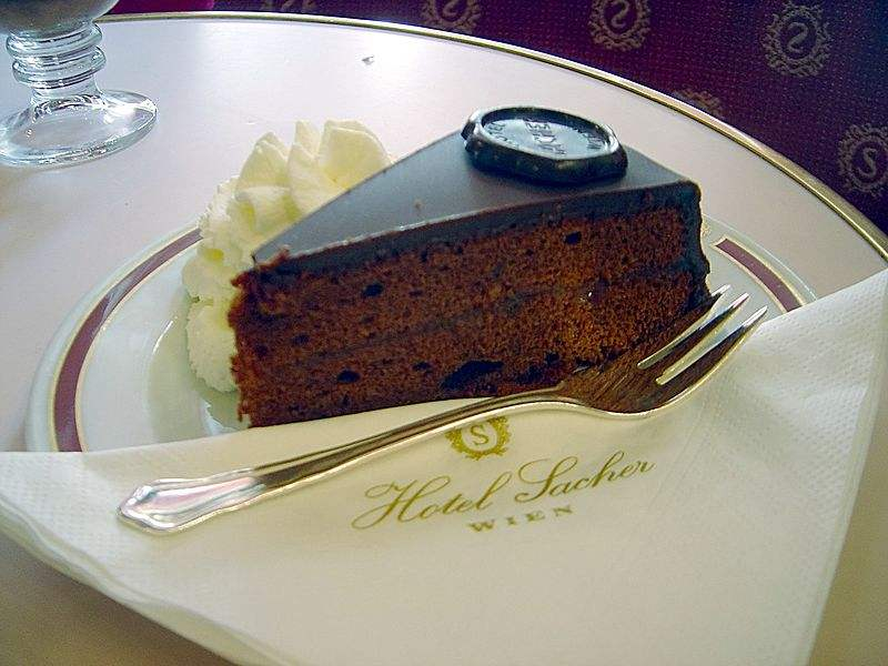 The Original Sacher Torte served at the historic Hotel Sacher. Photo by David Monniaux