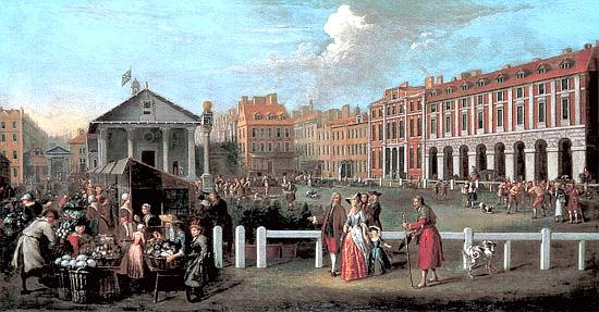 Covent Garden piazza and market in 1737, looking west towards St Paul's Church, painted by Balthazar Nebot.