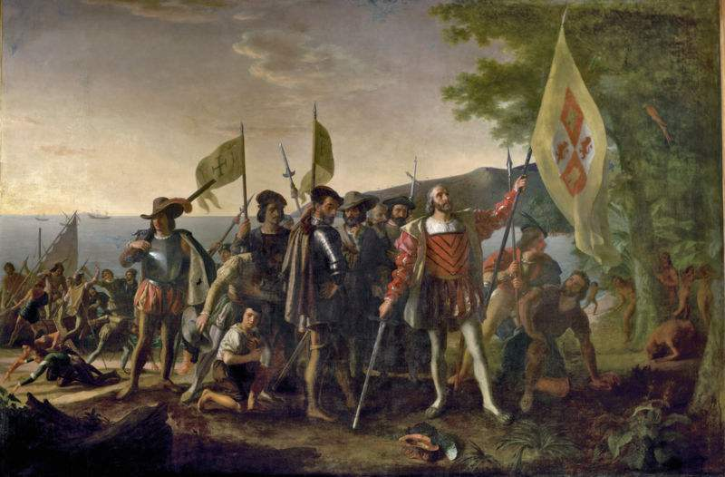 Christopher Columbus is shown landing in the West Indies. Painting by John Vanderlyn