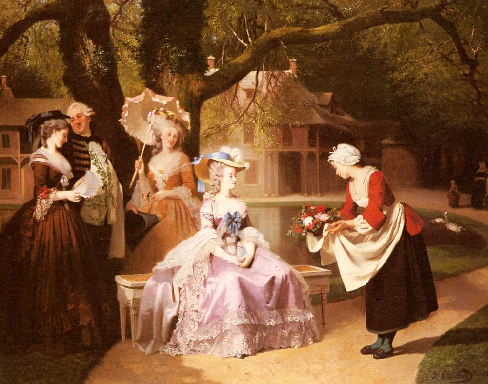 Marie Antoinette and Louis XVI in the Garden of the Tuileries with Madame Lambale. Painting by Joseph Caraud