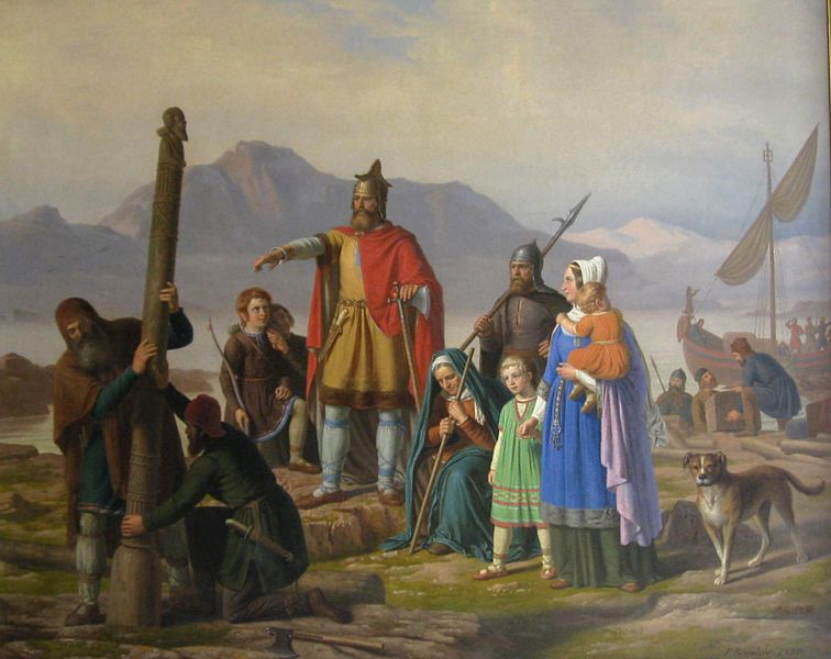 Ingólfr Arnarson, first settler of Iceland, painting by by Johan Peter Raadsig