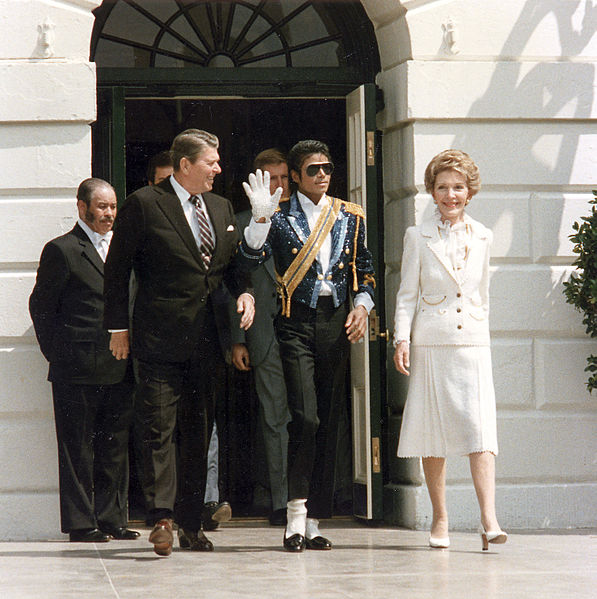 resident Ronald Reagan, first lady Nancy Reagan and pop singer Michael Jackson at the White House, May 1984.